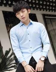 新品 メンズ Yシャツ 光沢 浅藍色 Lサイズ