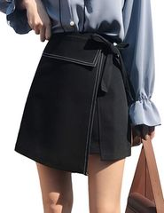ハイウエスト ラップ巻スカート風 インナー付(S寸・黒)
