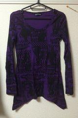 紫×黒 変形Tシャツ ペーパー柄