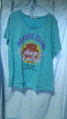 ロゴ&ハイビスカスプリント水色TシャツL