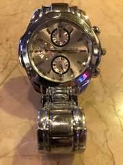 オールシルバー クロノグラフ 風ビッグフェイス腕時計