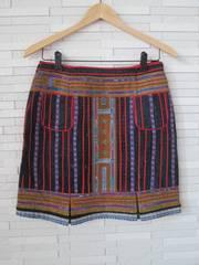 新品即決/山岳民族モン族刺繍台形スカート/エスニック