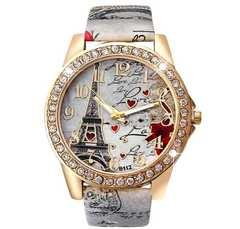 1円〜◆エッフェル塔  Rose柄 belt 腕時計