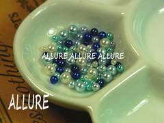 穴なしパール ブルー系×ホワイト2〜4ミリMIX レジン 70粒