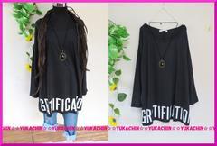 春新作◆大きいサイズ3Lブラック◆裾英字ロゴ◆ストレッチチュニック