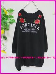 冬新作◆大きいサイズ3Lブラック◆胸元スパンコール薔薇◆チュニック