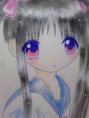 オリジナル自作イラスト原画.北海道の女の子.セーラー服