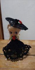 プチブライス黒のレース編みドレス