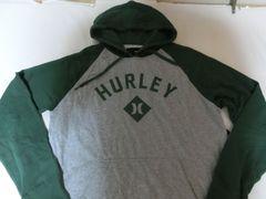 ハーレー【hurley】ロゴプリントプルオーバーパーカーUS M 灰x緑