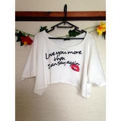 willennia◆ホワイト 白 テキストボレロ コットン Tシャツ L