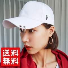韓国アイドル愛用☆男女兼用 2連リング付き Vマーク キャップ
