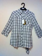 新品チェック柄ネルシャツクリンクル加工7分袖ネクタイ付