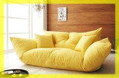 送料無料◆リクライニング機能付ソファ/Anis/イエロー/黄色