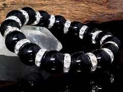 天然ブラックオニキス12ミリ§銀ロンデル数珠