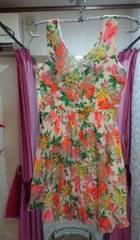 白ミニワンピースフレアネオンカラー花柄オレンジ黄色グリーンM