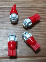 LED T10(赤色/超発光SMD/15連級)4個セット