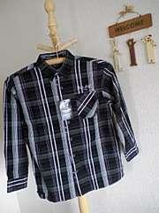 バッドボーイ新品ブラックチェック長袖シャツ130