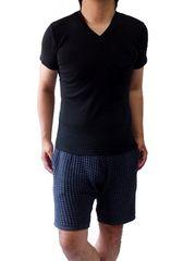 クールマックスVネックポケットデザインカットソーMブラック黒black新品※2点送料無料