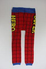 スパイダーマン風柄ベビー用スパッツ/レギンス80-90スーパーヒーロー