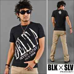 メール便送料無料【DELTA】Tシャツ70644新品黒銀XL