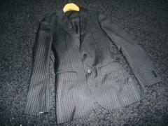 □EDIFICE/エディフィス ストライプ スーツ/メンズ/44/黒☆細身