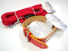 送円20kg25kg引紐PU6391赤リード+牛皮革手縫平首輪PU3071赤セット愛犬