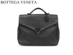 ■ボッテガ・ヴェネタ イントレチャート 黒 スモール ブリーフケース 113095