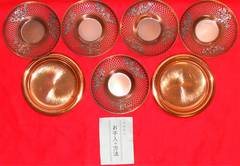 純銅刻印ありコースター2枚&茶托5枚セット