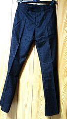 正規 Dior Hommeディオールオム スラックス黒系紺 42P スーツ シルバーストライプパンツ