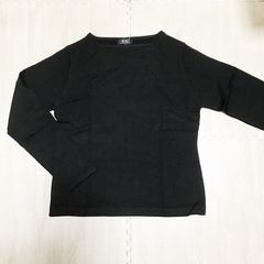 【NEW】ボートネック 長袖ニット/黒/L/首元が綺麗に見える!