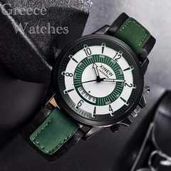腕時計 ギリシャ文字 ツートン レザー ウォッチ グリーン