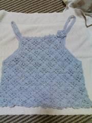 手編みモヘアのキャミソール グレー