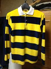 古着 ベロア ラガーシャツ 長袖ニット Sサイズ ボーダー柄 黄×紺 フリース アメリカ製