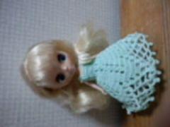プチブライスofペパーミントグリーンのレース編みドレス