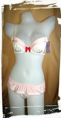 JK セーラー風ブラジャーショーツセットC70/M 白ピンク セーラームーン風 定価2484 コスプレ