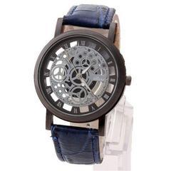 ネット最安値500円★超人気アンティーク風スケルトン腕時計青