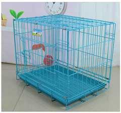 小型犬用◆Lサイズ 折りたたみペットケージ/青