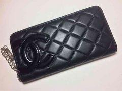 CHANEL カンボンライン ラウンドファスナー長財布(ブラック)