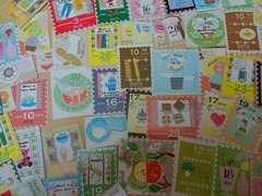 ♪切手風カットシール50枚まとめ売り(K)♪雑貨コラージュ・ラッピングなどに♪