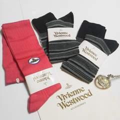 レアVivienne Westwood/ヴィヴィアンウエストウッド靴下3点-新品ピンク