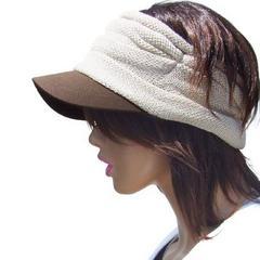 帽子♪ニットステッチ サンバイザー バイザーターバン ベージュ