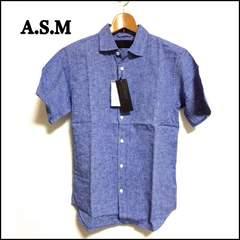 アトリエサブメン 麻混 メンズ 半袖シャツ M ブルー