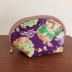 ハンドメイド*ころりん手乗りポーチ*和柄紫花と松