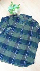 新品タグつき*マドラスチェック柄プルオーバーシャツ LLサイズ グリーン×ネイビー