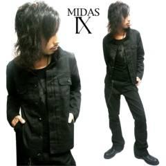 【MIDAS IX/ミダスナイン】光沢感♪ブラックデニムGジャン ブルゾン ジャケット