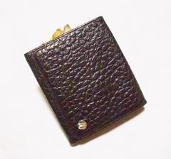 美品ゴールドファイル/GOLD PFEIL 型押し革製二つ折り財布