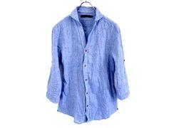 シワ加工7分袖綿麻リゾートデザインシャツMブルー新品※2点送料無料
