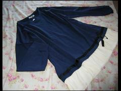 大きいサイズ 3L裾リボン可愛いシフォンふりるチュニック☆ネイビー
