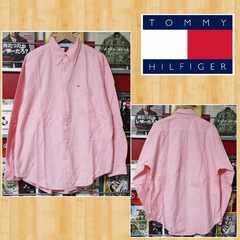 TOMMY HILFIGER トミーヒルフィガー ワークシャツ ピンク 美品 M ロゴ刺繍 長袖