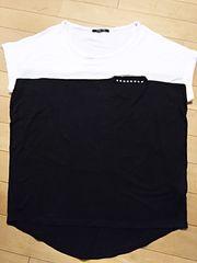 one way☆バイカラーTシャツ(^o^)黒×白 半袖 M